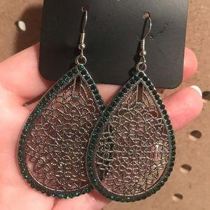 Silver teardrop filigree with green rhinestones